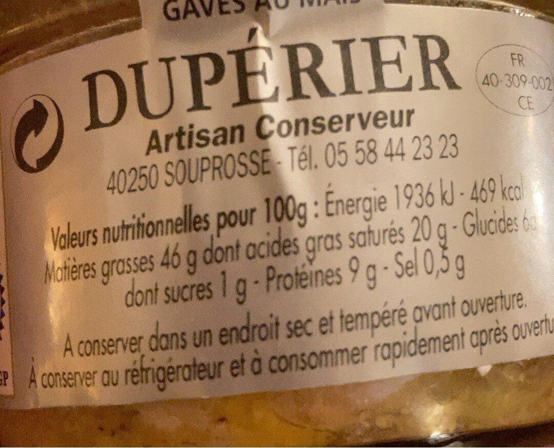 Foie Gras de Canard Entier des Landes - Informations nutritionnelles - fr