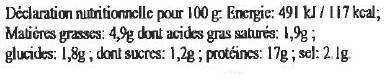 Potjevlesch à la Flamande aux 4 viandes - Informations nutritionnelles