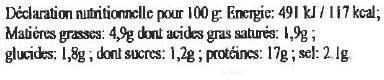 Potjevlesch à la Flamande aux 4 viandes - Informations nutritionnelles - fr