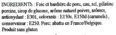 Pâté de foie La bourgeoise du Nord - Ingrédients - fr