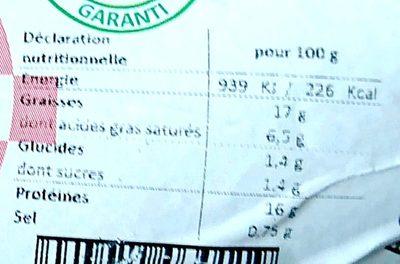 Saucisson cuit pur porc courbé fumage au bois de hêtre - Informations nutritionnelles - fr