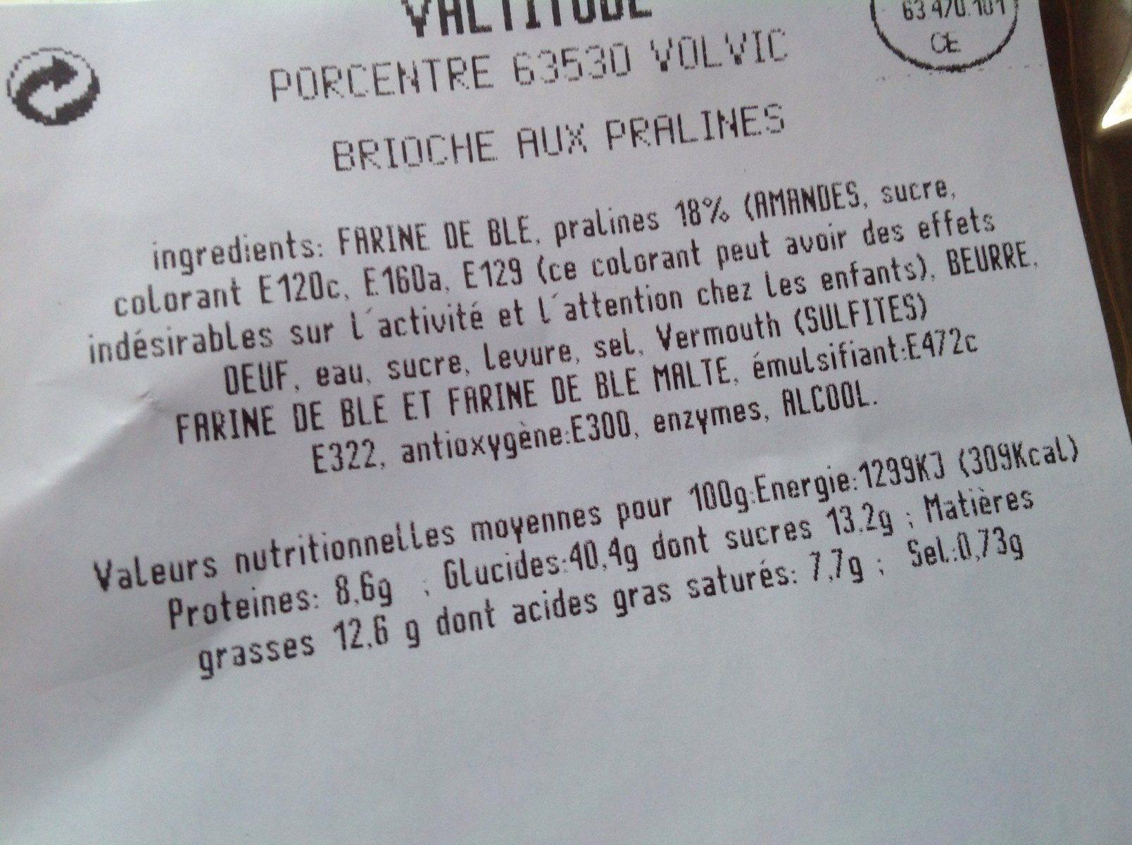 Brioche aux pralines pur beurre, le paquet de 400  g - Ingrédients - fr