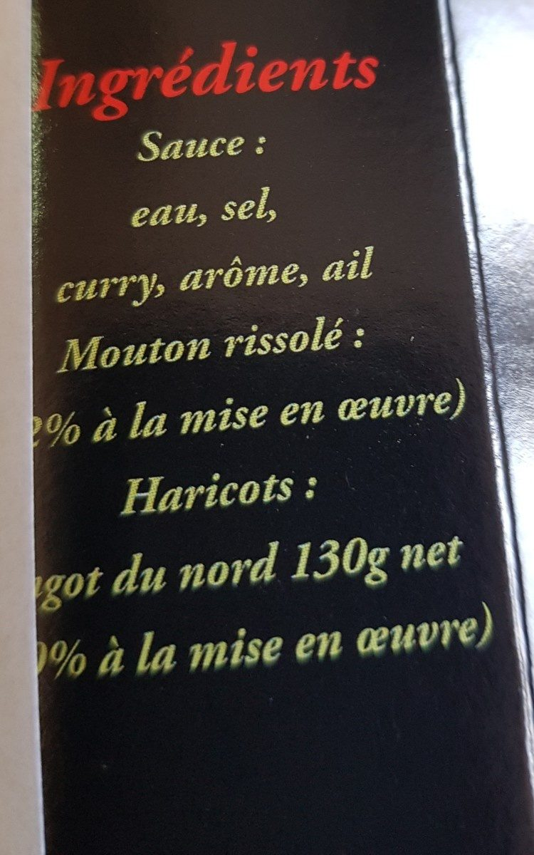 Navarin de mouton aux lingots du Nord - Ingredients - fr