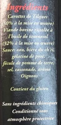 Carbonade de Boeuf aux carottes de Tilques - Ingrédients