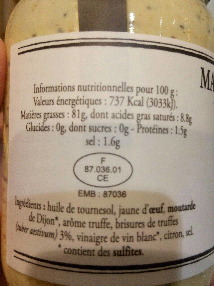 Mayonnaise aux truffes blanche d'été - Nutrition facts - fr