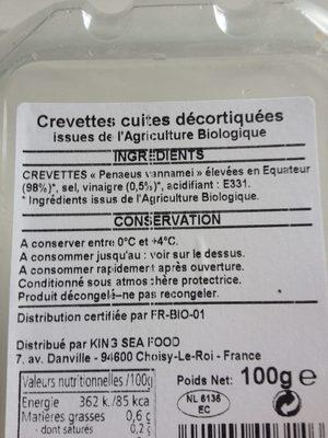 Crevettes bio - Ingredients