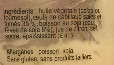Tarama Oeufs de Cabillaud - Ingredients