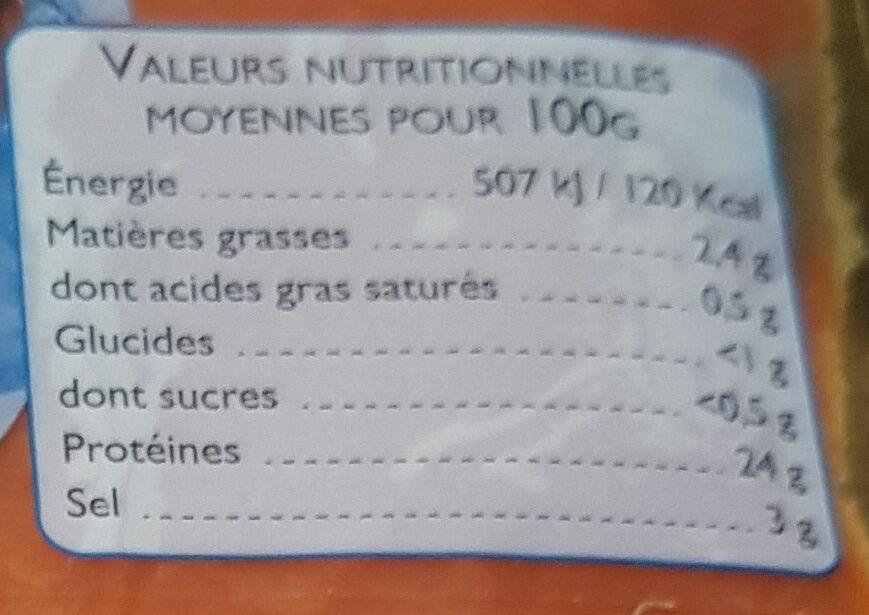 Saumon rouge du Pacifique fumé - Informations nutritionnelles - fr