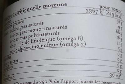 Oméga + Alliance de 5 huiles - Voedingswaarden - fr