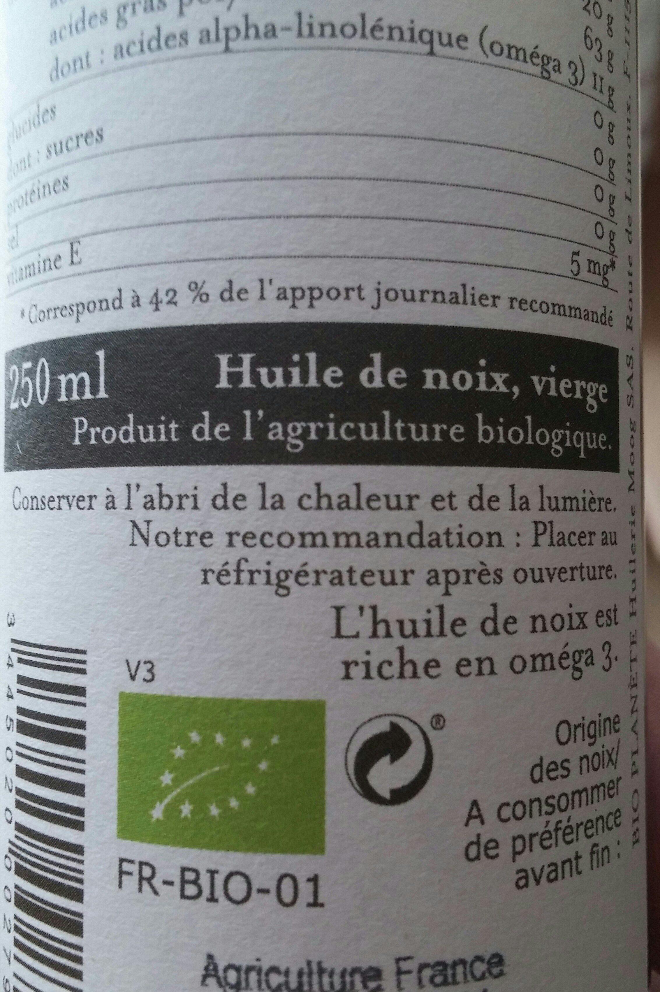 Huile de noix verge France - Ingrédients