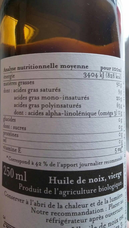 Huile de noix verge France - Informations nutritionnelles