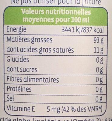 Huile vierge de lin - Voedingswaarden - fr