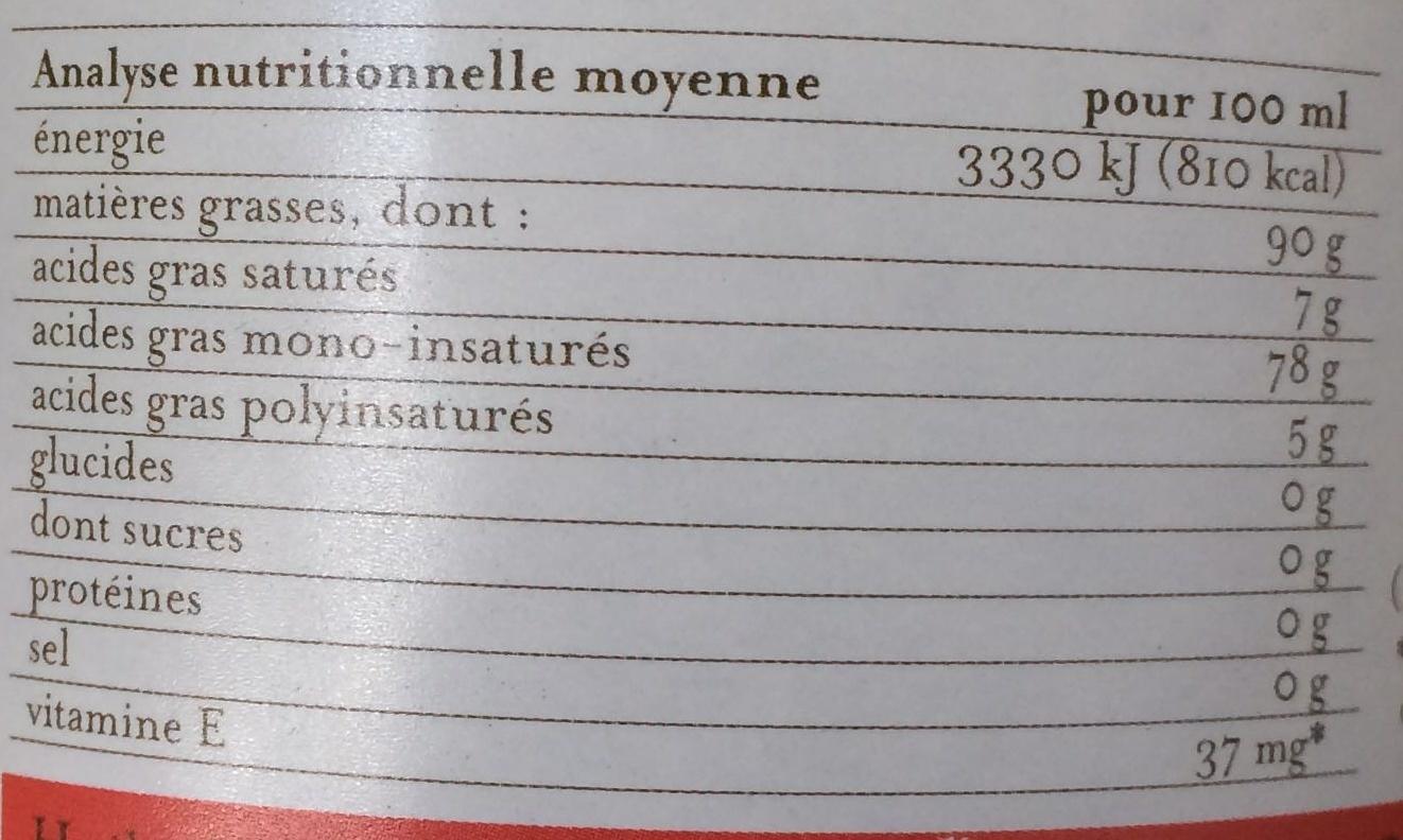 Huile de tournesol friture + poêlées - Informations nutritionnelles - fr
