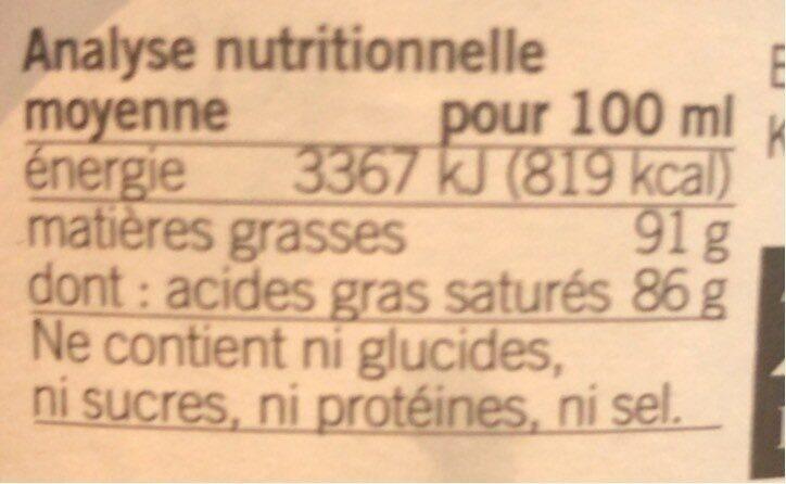 Huile de Coco Vierge - Informations nutritionnelles - fr
