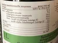 Huile Salade + Crudités - Informations nutritionnelles