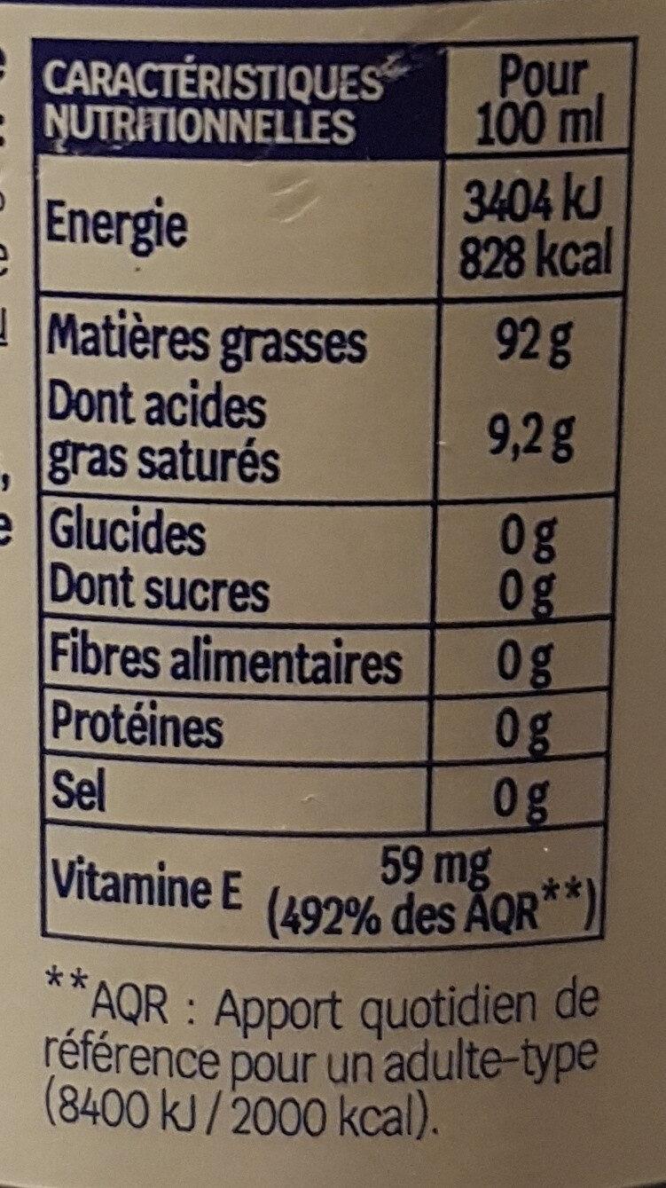 Huile vierge de tournesol - Informations nutritionnelles - fr