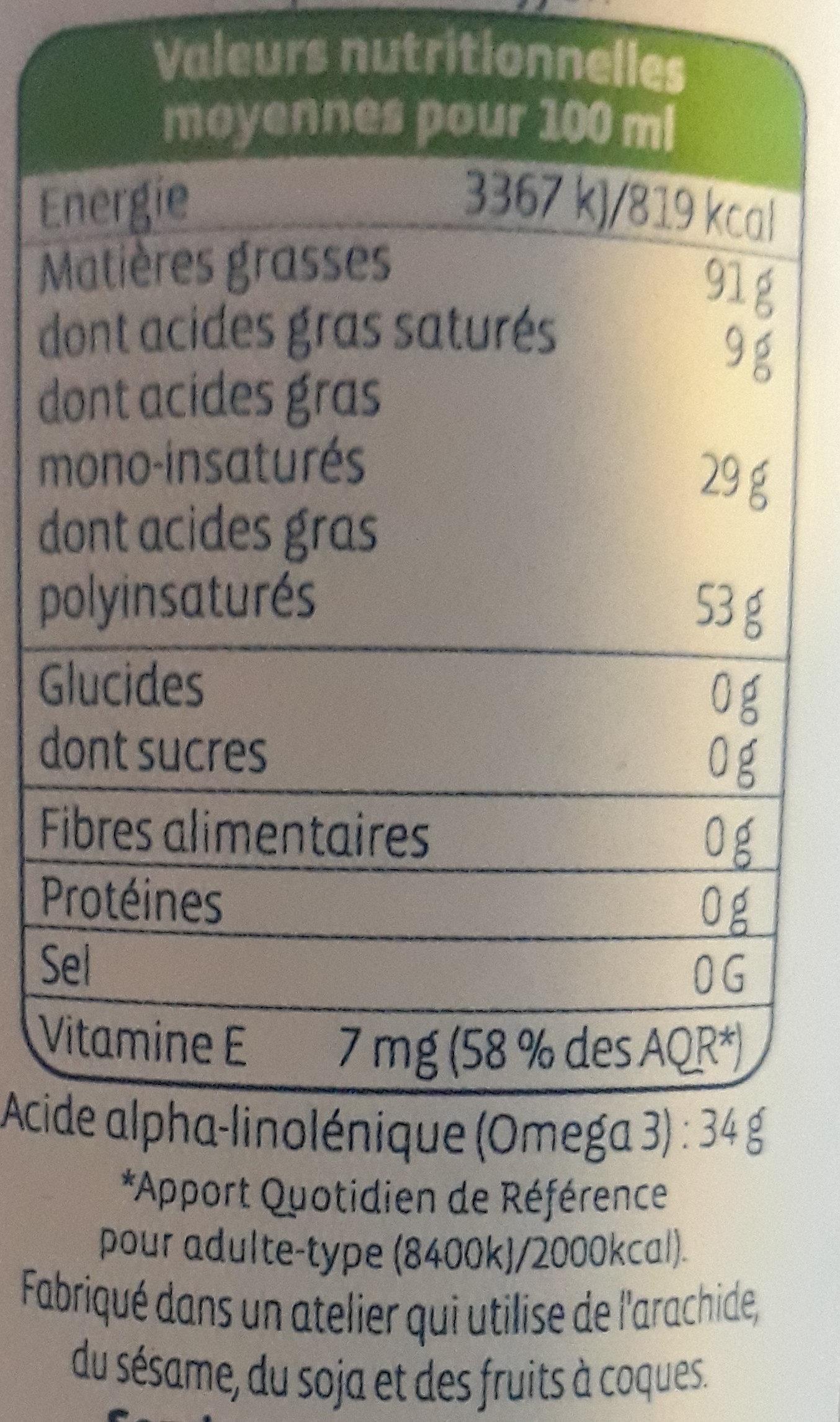 Huile De Cameline - Nutrition facts