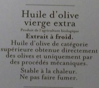 Huiles d'olive vierge extra Bio - Ingrédients - fr