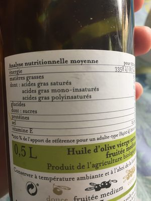 Huile d'olive Fruiteée Medium - Ingrédients - fr