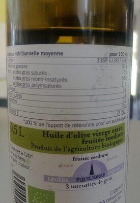 Huile d'olive Fruiteée Medium - Informations nutritionnelles - fr