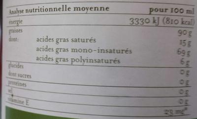 Huile d'olive corsée extra vierge classic - Informations nutritionnelles