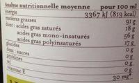Huile D'olive Vierge Douce - Valori nutrizionali - fr