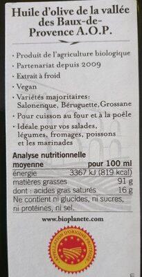 Huile Olive Aop France 50CL - Voedingswaarden - fr