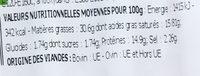 Véritables merguez étuvées - Informations nutritionnelles - fr