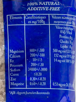 Gros sel de Guérande - Informations nutritionnelles - fr