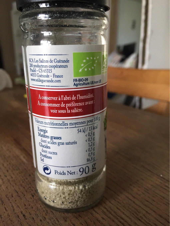 Sel moulu de Guérande aux légumes et herbes bio - Informations nutritionnelles - fr