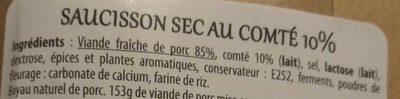 Saucisson Sec au Comté - Ingredients