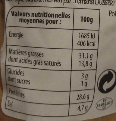 Saucisson Sec au Comté - Nutrition facts