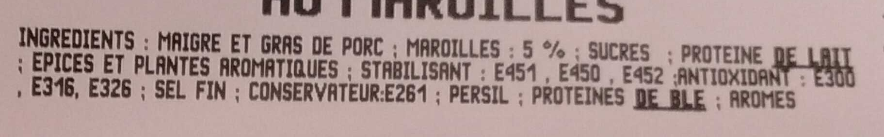 Saucisses au Maroille - Ingrediënten - fr