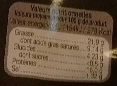 Saucisses au Maroille - Voedingswaarden - fr