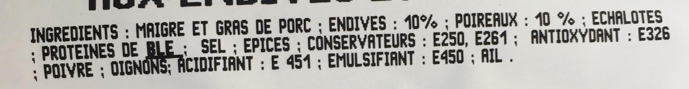 Saucisses Endives-Poireaux - Ingrédients