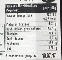 Véritable andouille de Cambrai - Nutrition facts