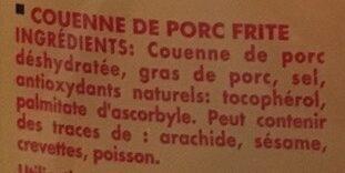 Couenne De Porc Frit 100G - Ingrédients - fr