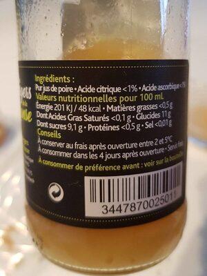 Poire Pur Jus - Nutrition facts - fr