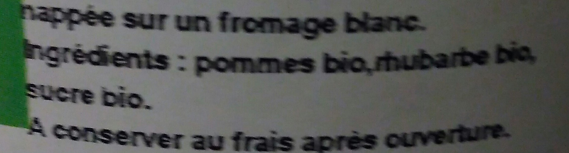 Compote pomme rhubarbe bio - Ingrédients - fr