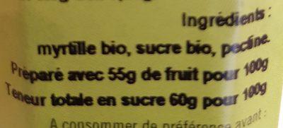Confiture Myrtille - Ingredients