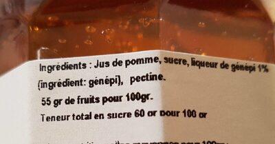 Gelée pomme génépi 370 g - Ingrediënten