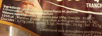 Jambon sec - Ingrédients - fr