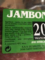 Jambon Sec 20 Tranches Intercalaires 500 g - Ingrédients - fr