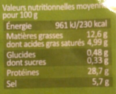 Jambon Sec 20 Tranches Intercalaires 500 g - Informations nutritionnelles - fr