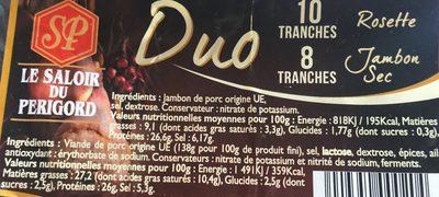 Duo Jambon sec + Rosette - Ingrédients - fr