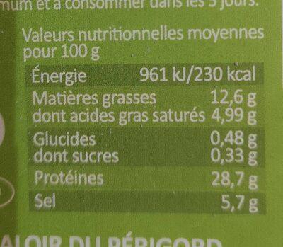 Pétales De Jambon Sec - Informations nutritionnelles - fr