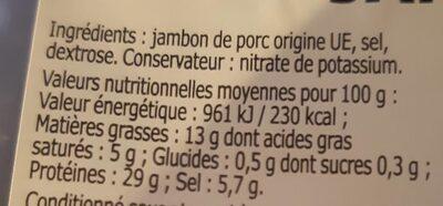 Jambon sec périgordine de Salaisons - Informations nutritionnelles - fr
