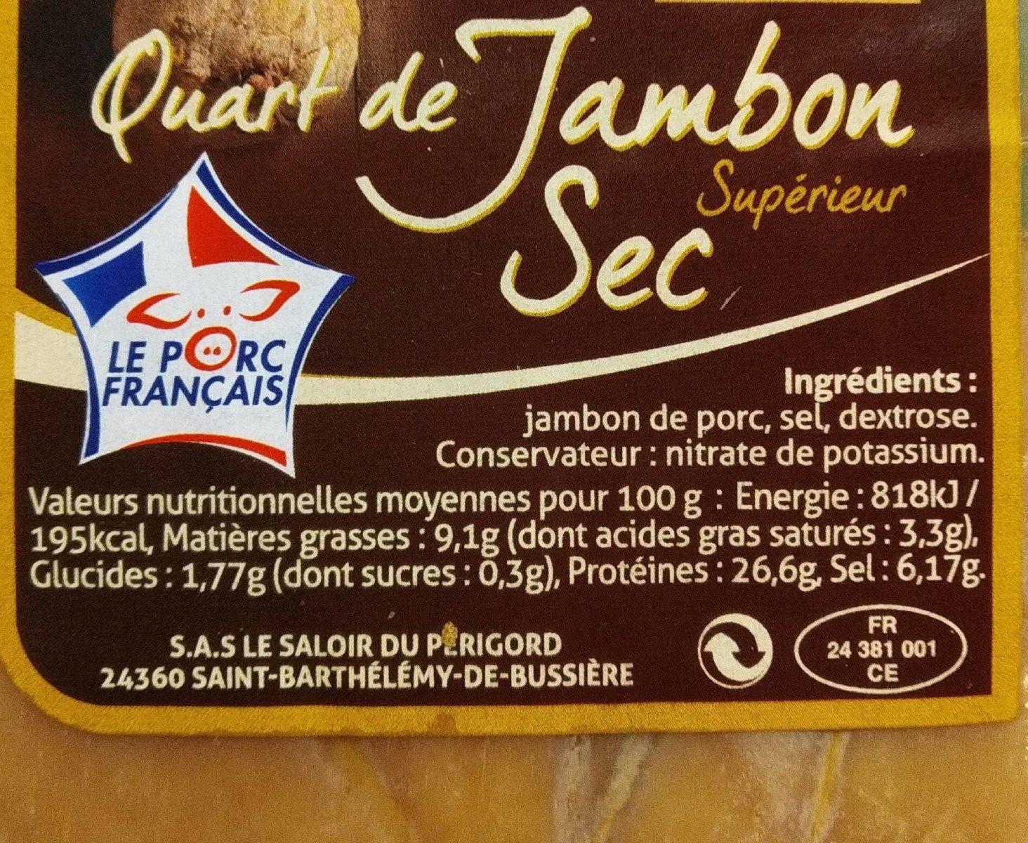 Quart de jambon sec supérieur - Ingrédients - fr