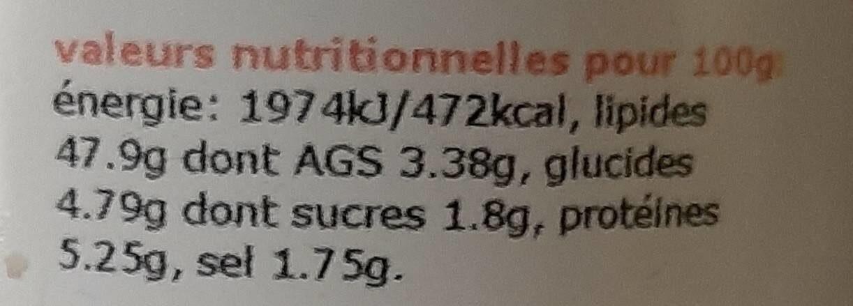 110G Tarama De Saumon - Nutrition facts - fr