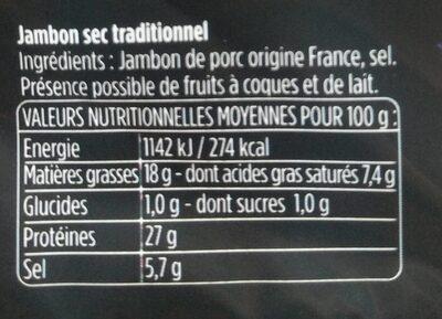 Les Fines et Fondantes - Informations nutritionnelles - fr